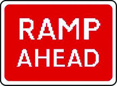 Ramp ahead traffic sign