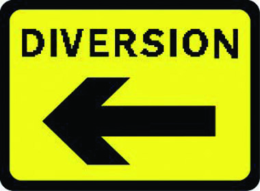 Diversion arrow left traffic sign