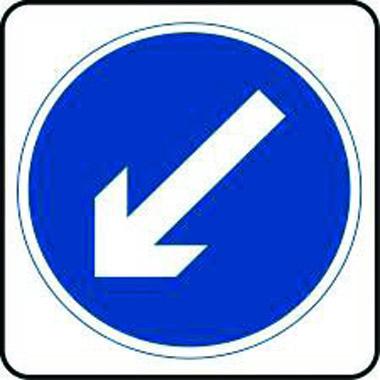 Arrow diagonal down left sign