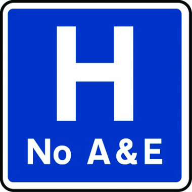 No hospital A&E sign