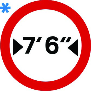Vehicle width restriction 7ft 6in sign