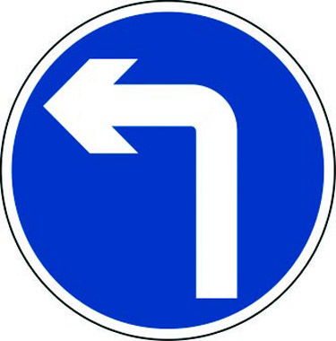 Left turn only traffic sign