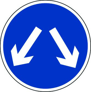 Pass either side traffic sign