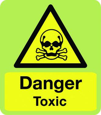 hazard danger toxic in photoluminescent sign stocksigns