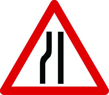 Road narrows on left ahead traffic sign