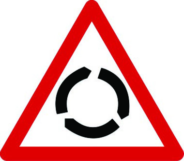 Roundabout ahead traffic sign