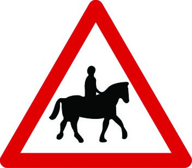 Accompanied horses likely ahead traffic sign