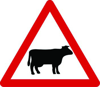 Cattle likely ahead traffic sign