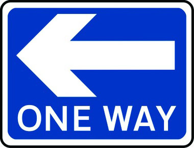 One-way traffic arrow left traffic sign