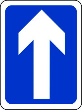 One-way traffic sign