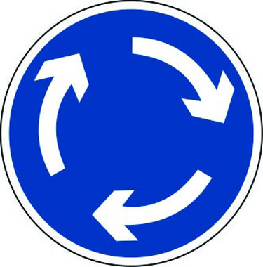Roundabout sign with clockwise arrows