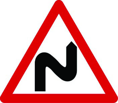 Double bends to the right traffic sign