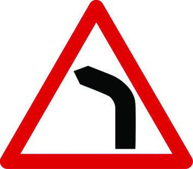 Left-hand bend traffic sign