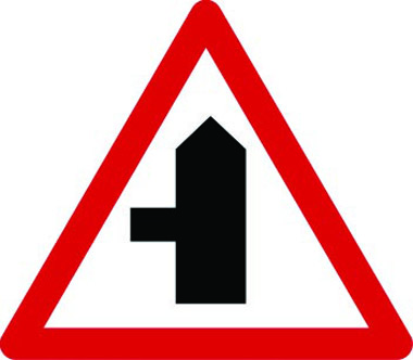 Junction left traffic sign