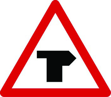 T-junction ahead main road right traffic sign
