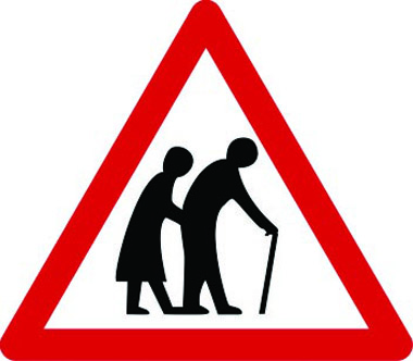 Frail/disabled pedestrians ahead warning sign