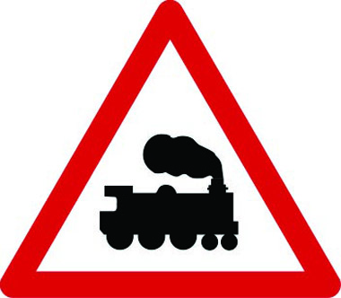 Railway level crossing without gate or barrier sign