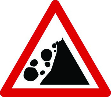 Rocks falling left warning sign