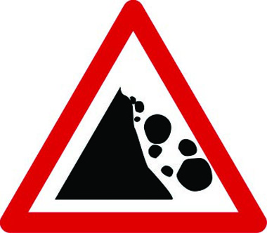 Rocks falling right traffic sign