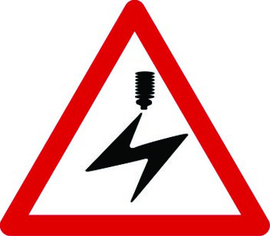 Electrified overhead cable warning sign