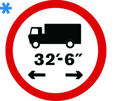 Vehicle length restriction 32ft 6in sign