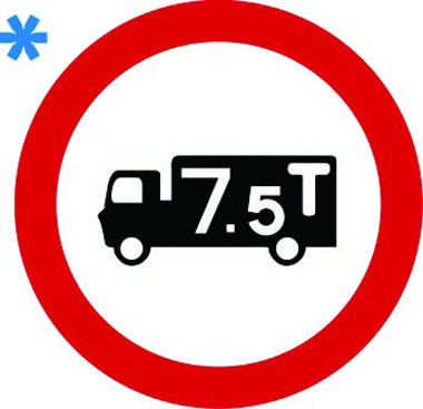 Vehicle weight restriction 7.5 tones sign