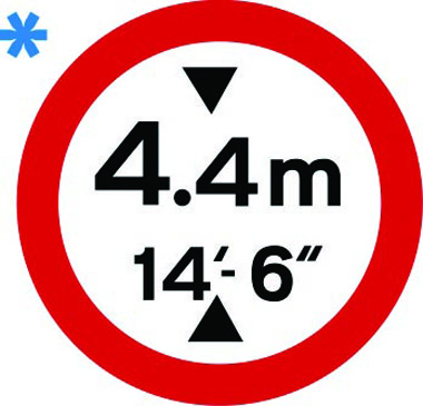 Vehicle height restriction 4.4m sign
