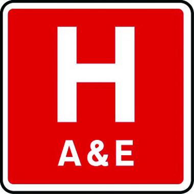 Hospital A&E sign