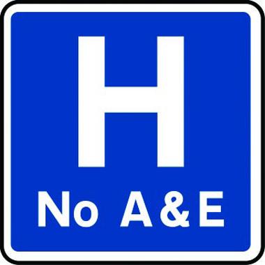 No hospital A&E sign