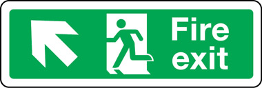 Double-sided fire escape route sign diagonal arrow up left