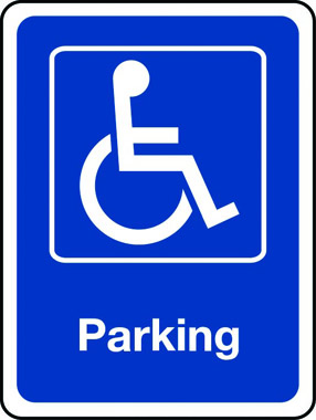 Disabled parking sign with wheelchair
