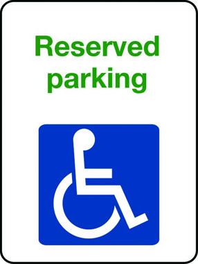 Reserved parking sign with wheelchair