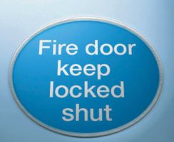 Fire door keep locked shut 3mm mirror brass effect dibond