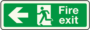 Double-sided fire exit sign (arrow left)