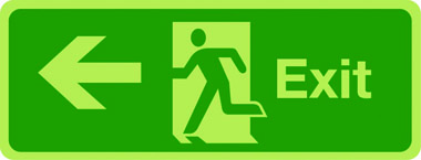 Double-sided exit sign (arrow left)