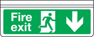 Ceiling mounted single-sided fire exit sign arrow down