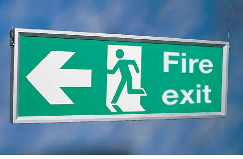 Suspended Frame with Fire Exit sign