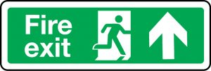 Fire exit sign with arrow up