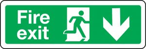 Fire exit sign with arrow down