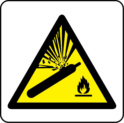 Compressed gas warning sign