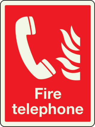 Fire telephone sign (large) in photoluminescent material