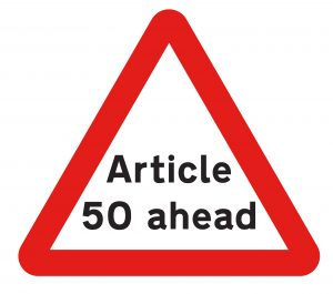Article 50 ahead sign