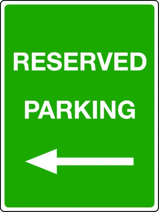 Reserved parking arrow left