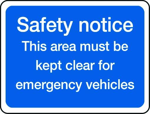 Safety notice, emergency vehicles