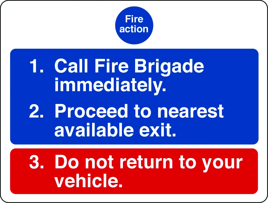 Fire action notice for car parks