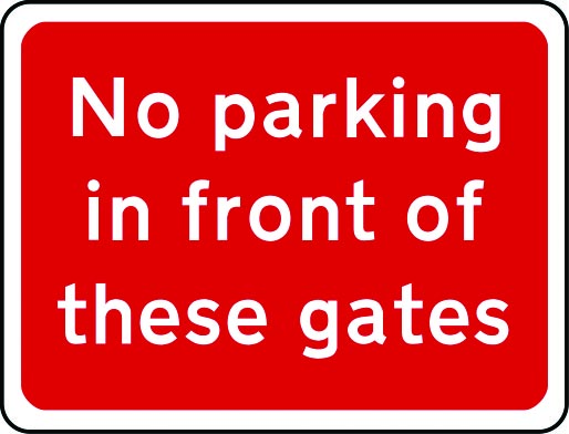 No parking in front of gates