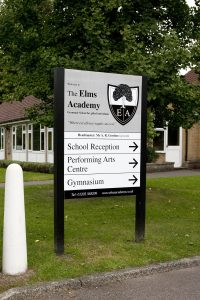 School entrance sign