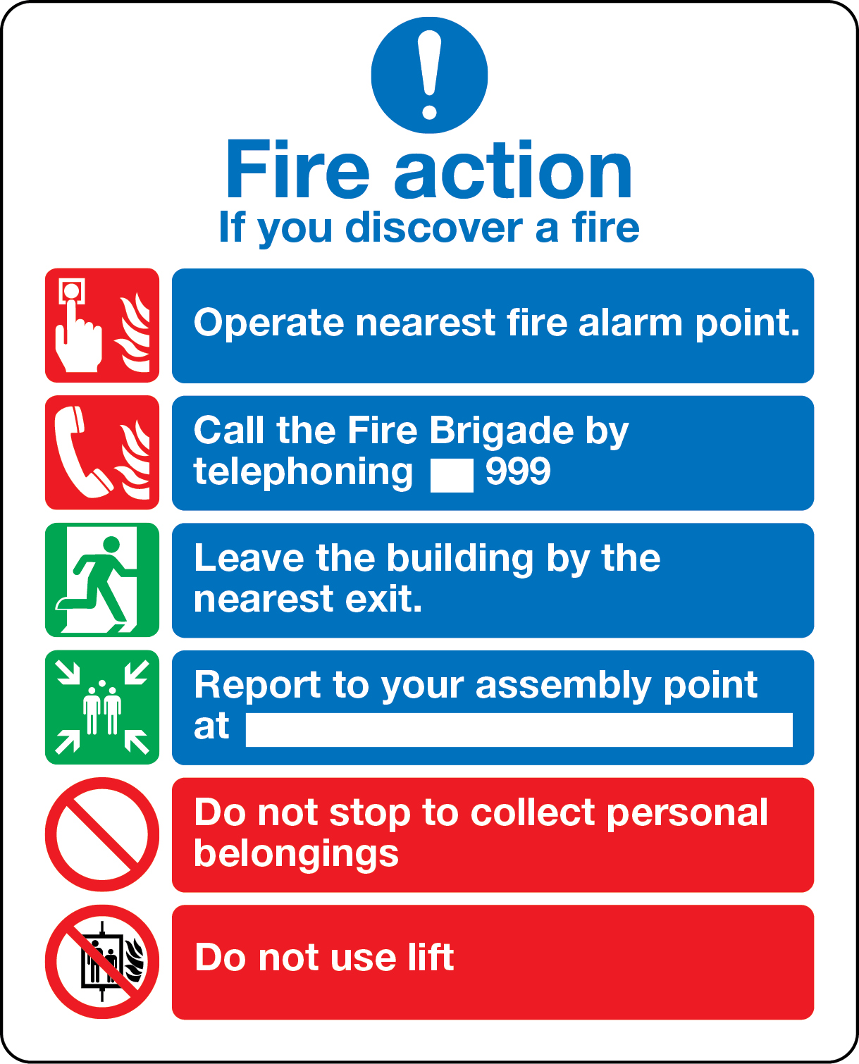 Fire action notice with graphic symbols from BS 5499 (with lifts) sign