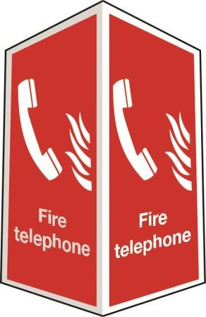 Two-sided fire telephone sign