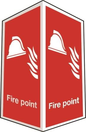 Two-sided fire point sign